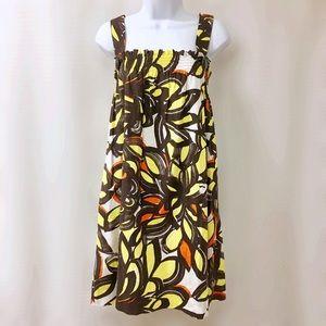 Zara Yellow Flower Print Summer Sundress, Size S